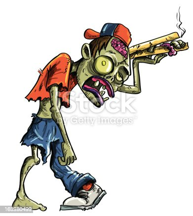 istock Cartoon zombie delivering pizza 163980499