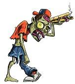 istock Cartoon zombie delivering pizza 163980499