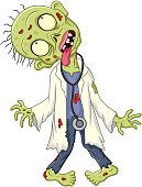 Vector illustration of Cartoon zombie doctor on white background