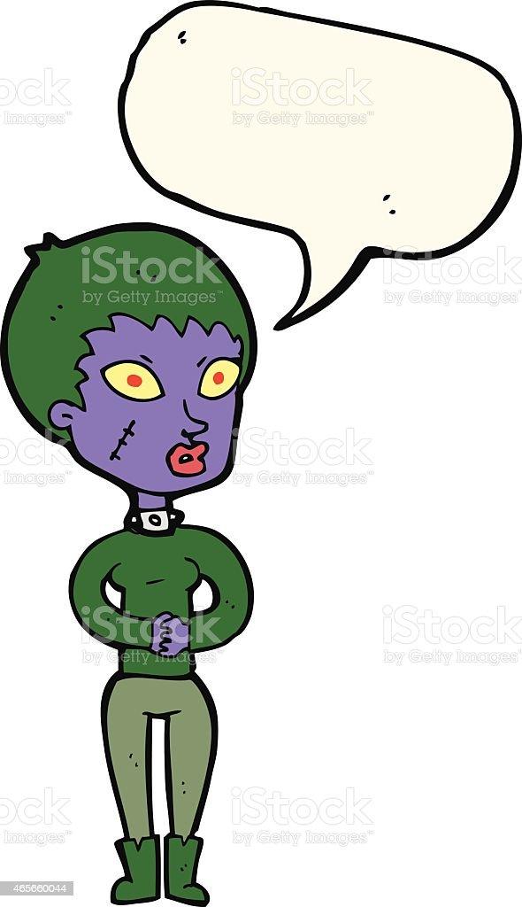 Zombie Fille En Dessin Animé Avec Bulle De Dialogue Vecteurs Libres De Droits Et Plus D Images Vectorielles De 2015