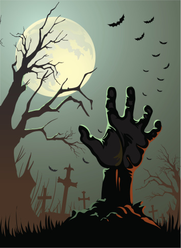 Cartoon Zombie hand coming out of the ground