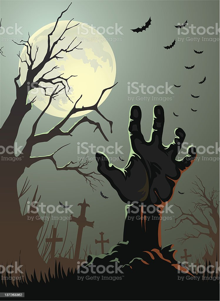 Cartoon Zombie hand coming out of the ground vector art illustration