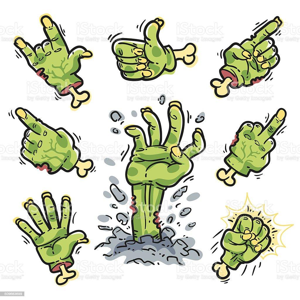 Cartoon Zombie Hands Set for Horror Design vector art illustration