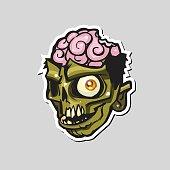 Cartoon zombie head. Vector illustration.