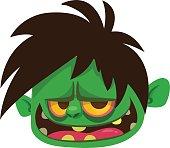 Cartoon zombie icon. Halloween vector illustration