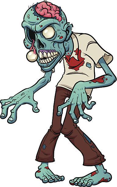 bildbanksillustrationer, clip art samt tecknat material och ikoner med cartoon zombie - zombie