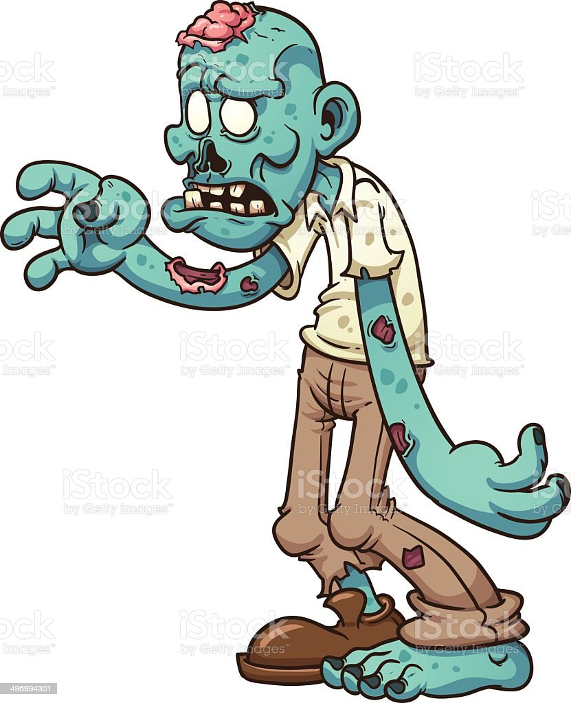 cartoon zombie stock vector art more images of blue 496994301 istock rh istockphoto com  free zombie clipart images