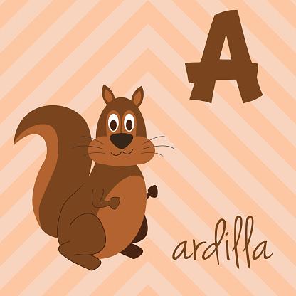 Cartoon zoo alphabet with animals. Spanish name: A for Ardilla