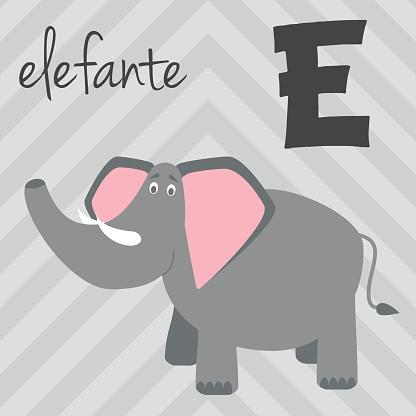 Cartoon zoo alphabet with animals. Spanish name: E for Elefante