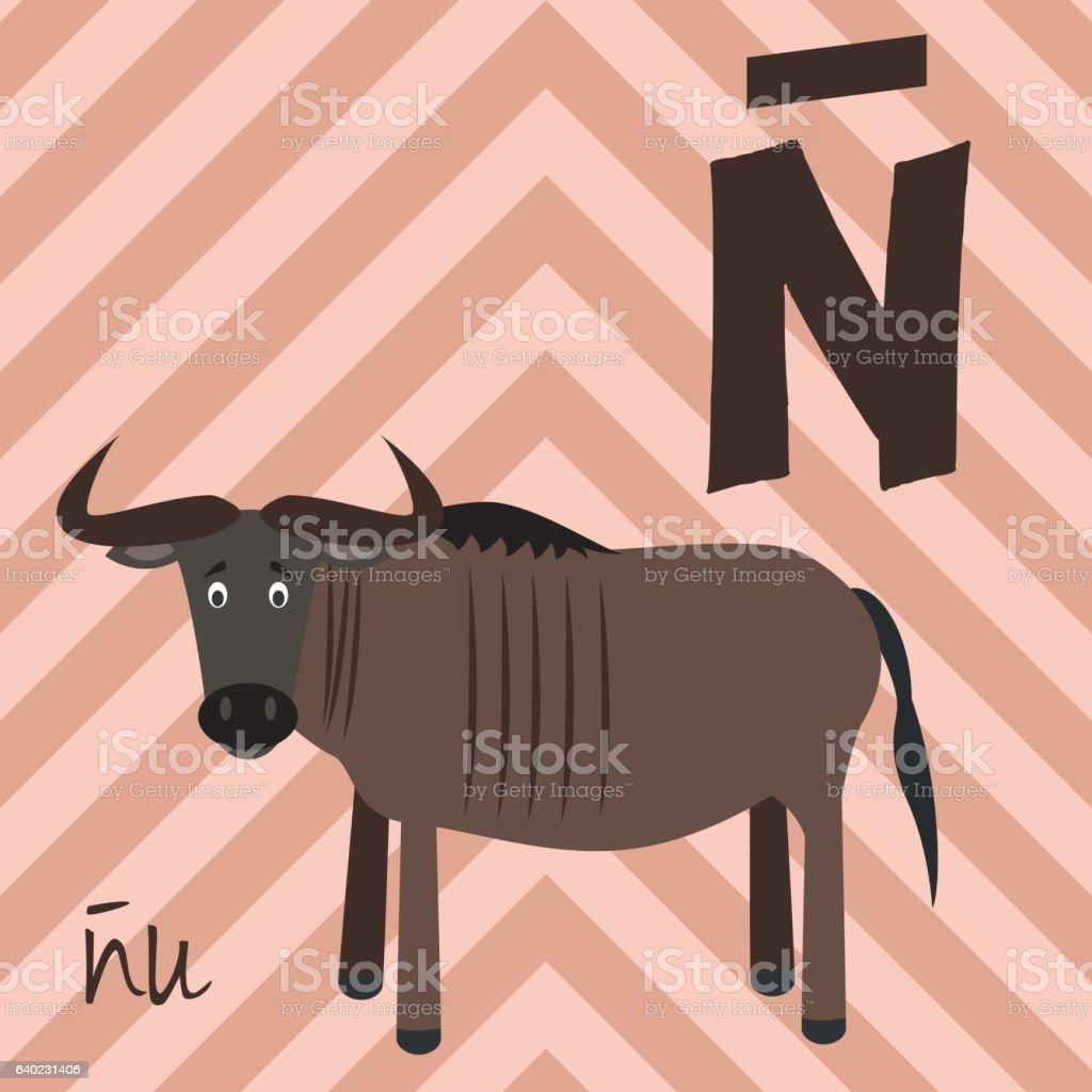 Cartoon zoo alphabet with animals. Spanish name: Ñ for Ñu