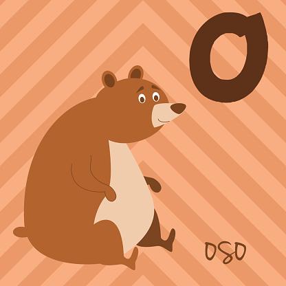 Cartoon zoo alphabet with animals. Spanish name: O for Oso