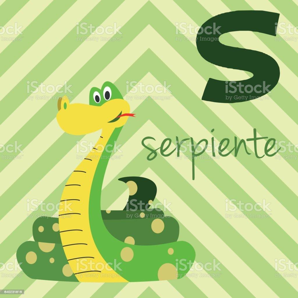 cartoon zoo alphabet with animals spanish name s for serpiente の