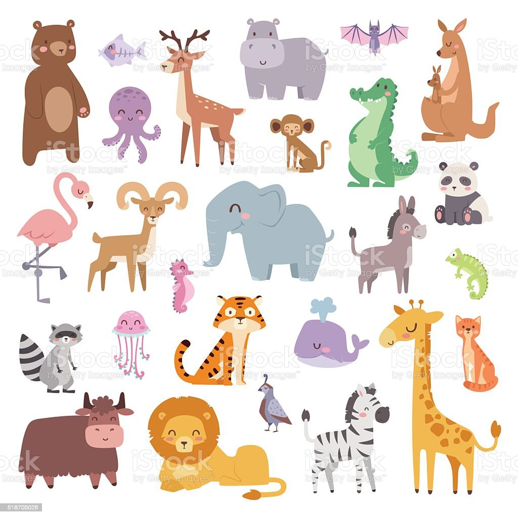 Cartoon zoo animals big set wildlife mammal flat vector illustration