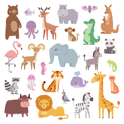 Cartoon zoo animals big set wildlife mammal flat vector illustration