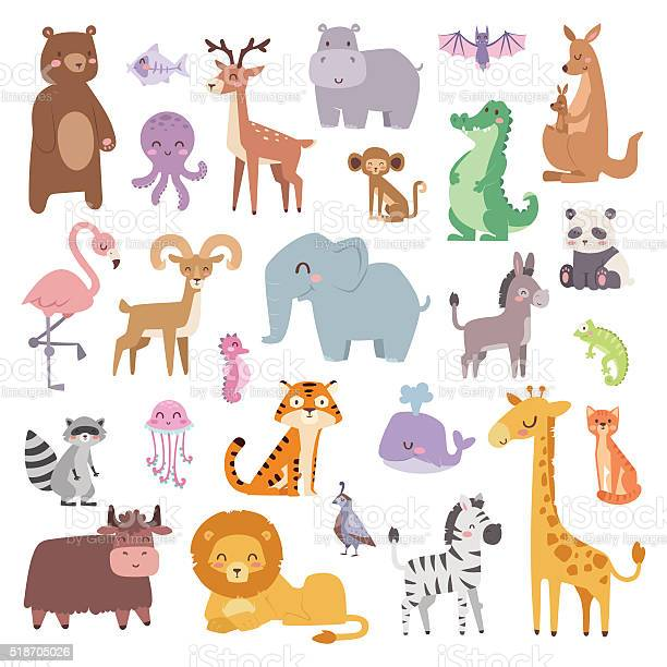 Cartoon zoo animals big set wildlife mammal flat vector illustration vector id518705026?b=1&k=6&m=518705026&s=612x612&h=uae90ywc1gyqvtj9xt0upg n8e7qc2 3wwvvdcznqfa=