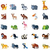 Set of wild animal icons