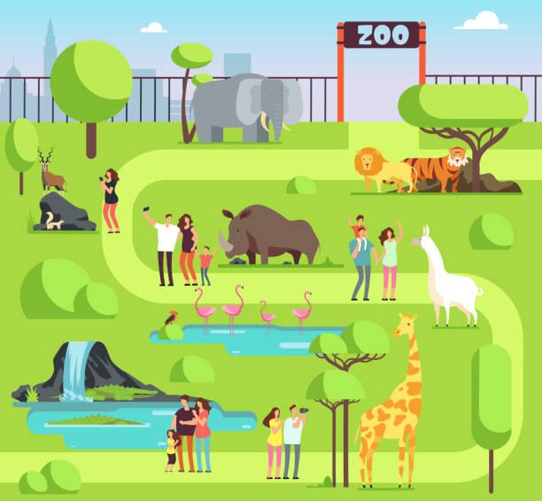 訪問者とサファリの動物漫画の動物園。動物学の公園での子供との幸せな家族のベクトル イラスト - 動物園点のイラスト素材/クリップアート素材/マンガ素材/アイコン素材