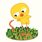 Cartoon_chick_with_worm_on_meadow
