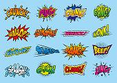 Sixteen cartoon/comic sound effects.