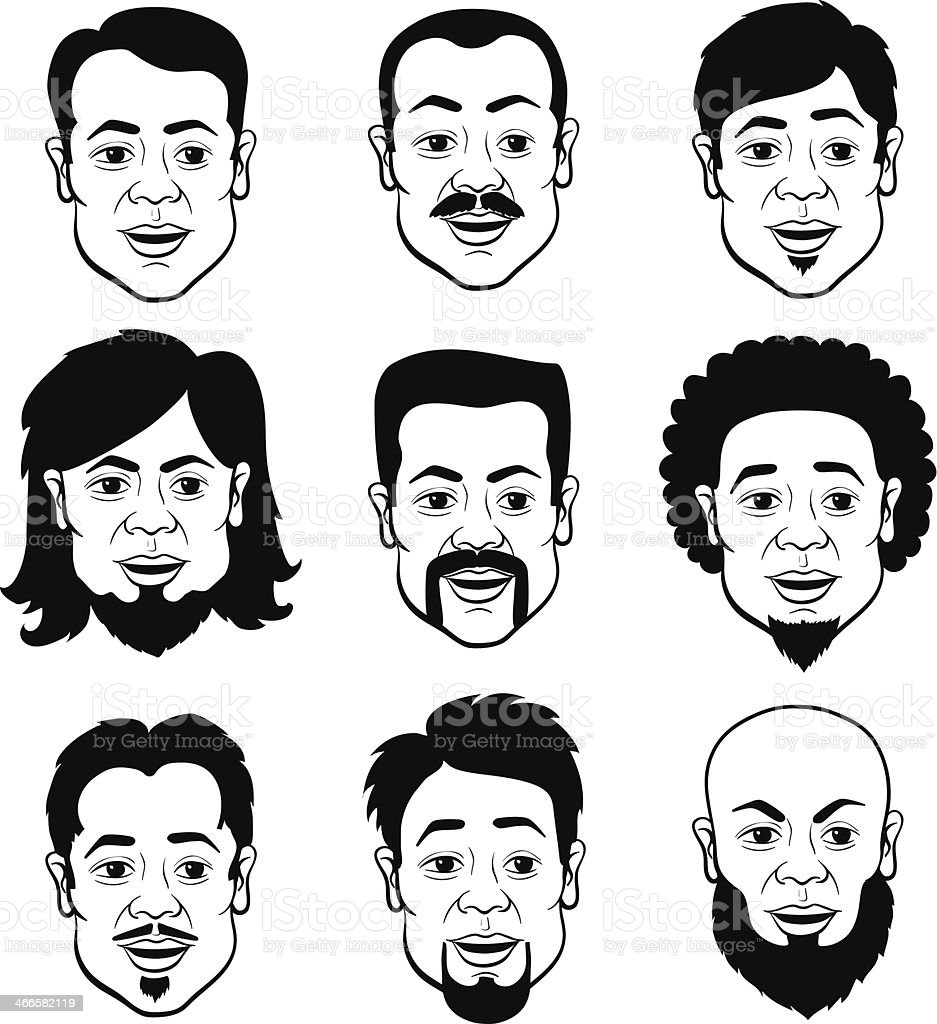 Cartooning Faces of the Man vector art illustration
