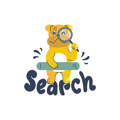 Cartoonish bulldog and a lettering phrase - Search. The funny detective puppy