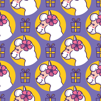 Cartoonish head llamas with presents and flowers. The seamless pattern