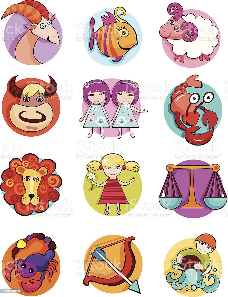 Cartoonish illustrations of the twelve zodiac signs royalty-free stock vector art
