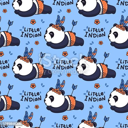 istock Cartoonish pandas with a lettering phrase - Little indian. The baby seamless pattern 1289846306