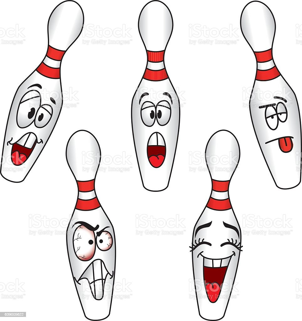 Cartoons Bowling Pins vector art illustration