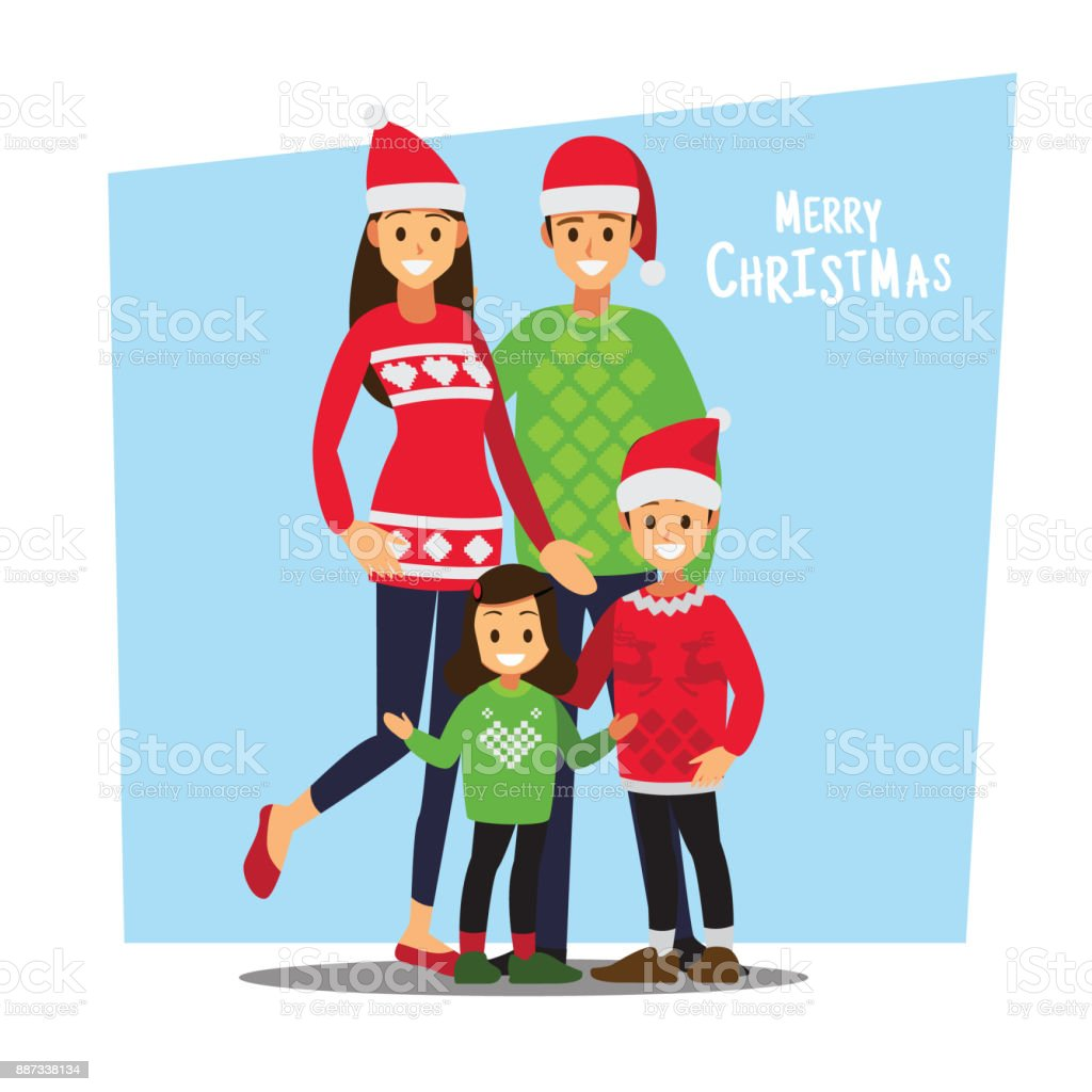 Cartoons character family celebrations glad gifts. vector art illustration