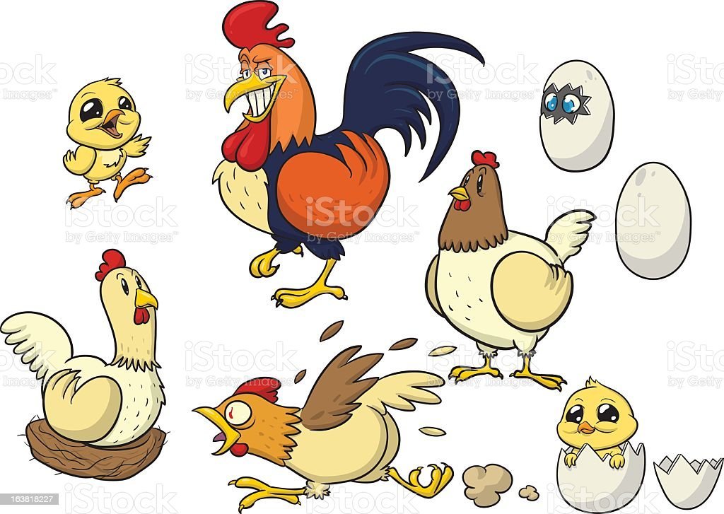 Cartoons of chickens, chicks, eggs and rooster royalty-free stock vector art