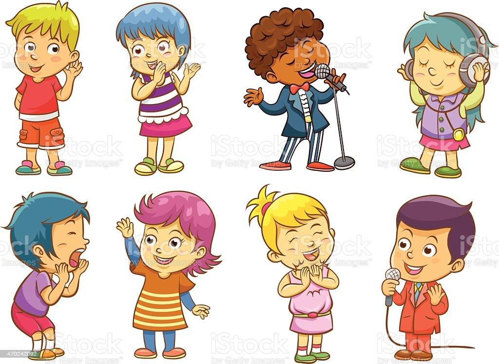 Cartoons of children singing and having fun vector art illustration
