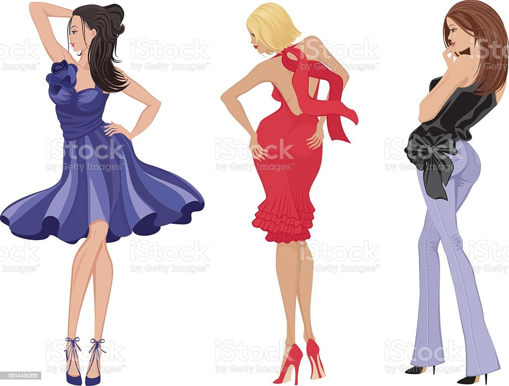 Cartoons of stylish women in various poses royalty-free cartoons of stylish women in various poses stock vector art & more images of adult