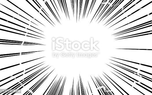 istock Cartoon-style background material: effect of concentrated lines and lightning 1277376000