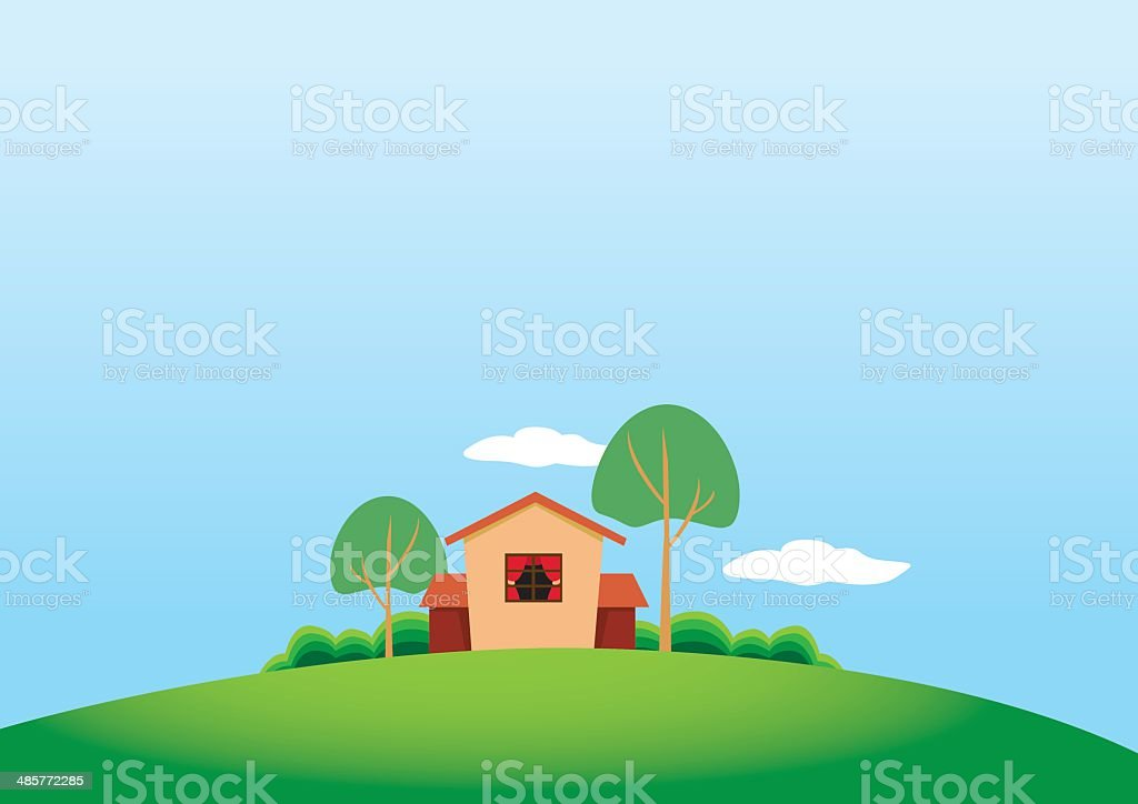 Cartoony Stule Country House and Trees on Grassland royalty-free stock vector art