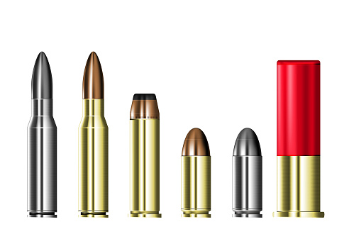 Cartridge cases with bullets, hunting and military ammunition,  set of ammo cartridges isolated on transparent background, vector