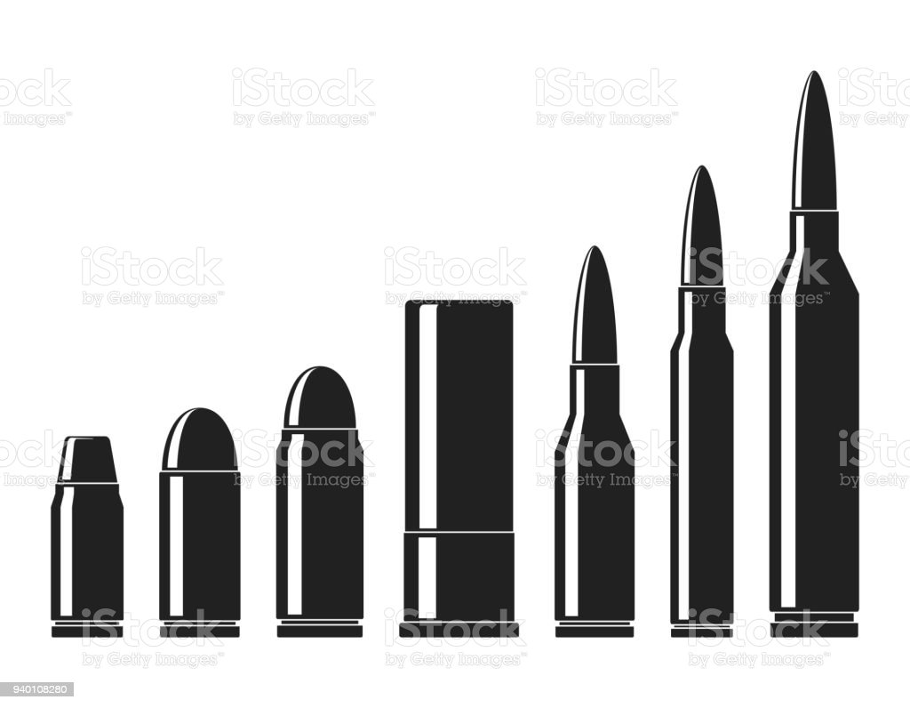 Cartridges icons vector set. A collection of bullets icons isolated on white background. Weapon ammo types and size in flat style. Vector illustration vector art illustration