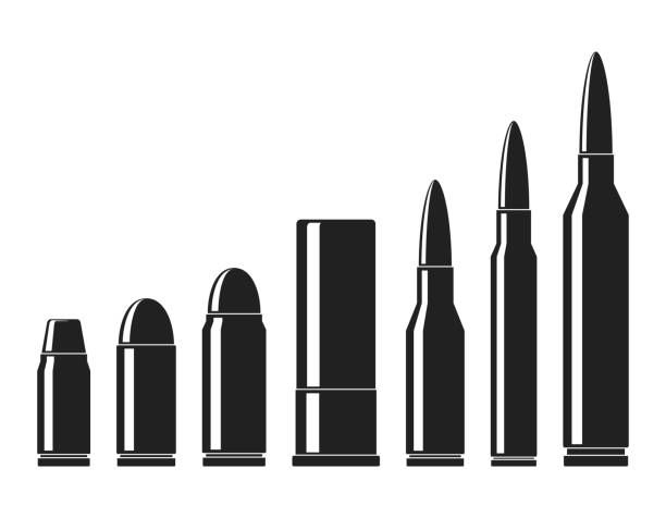 Cartridges icons vector set. A collection of bullets icons isolated on white background. Weapon ammo types and size in flat style. Vector illustration Cartridges icons vector set. A collection of bullets icons isolated on white background. Weapon ammo types and size in flat style. Vector illustration ammunition stock illustrations
