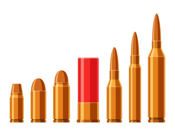 Cartridges vector set. A collection of bullets isolated on white background. Weapon ammo types and size in flat style. Vector illustration Cartridges vector set. A collection of bullets isolated on white background. Weapon ammo types and size in flat style. Vector illustration ammunition stock illustrations
