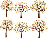 Cartton fall trees in flat design with green, red, yellow and brown leaves.