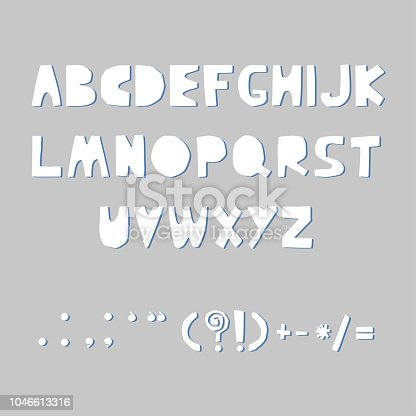Carved alphabet and punctuation marks. Rustic font. Vector ABC. Latin letters