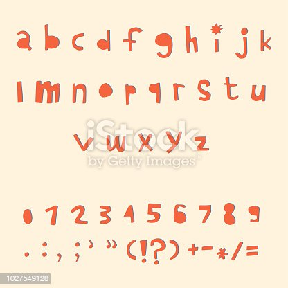Carved alphabet number and punctuation marks. Rustic font. Vector ABC. Latin letters