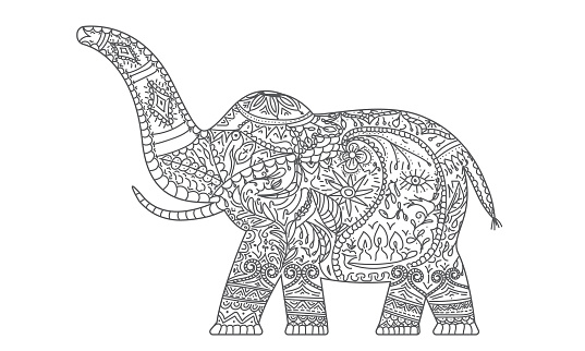Carved doodle elephant with line art ornaments. Hand drawn greeting card. Vector illustration.