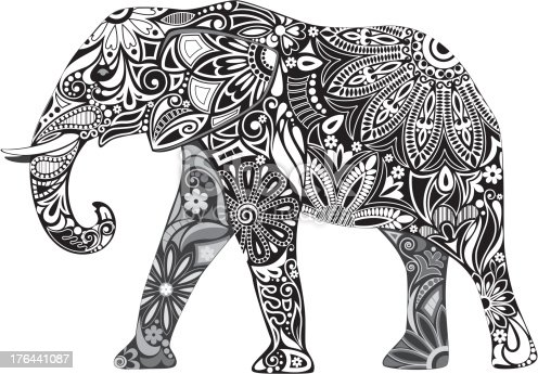 Silhouette elephant assembled from elements of floral ornament.