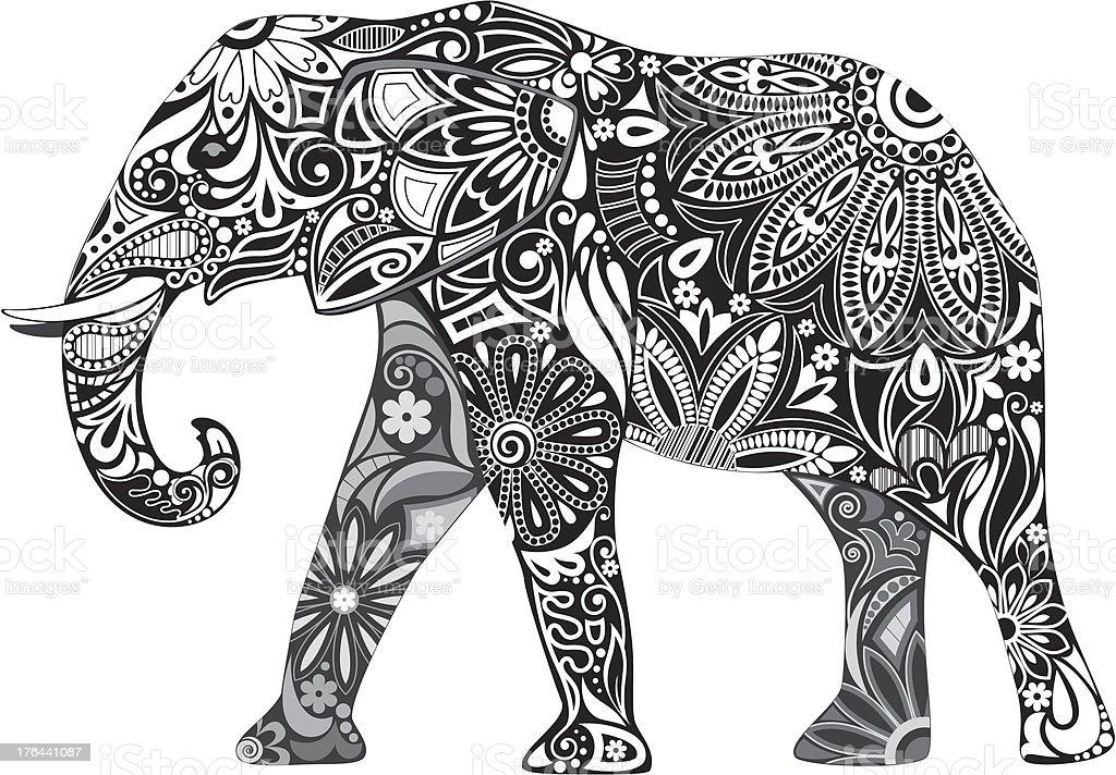Carved elephant. vector art illustration