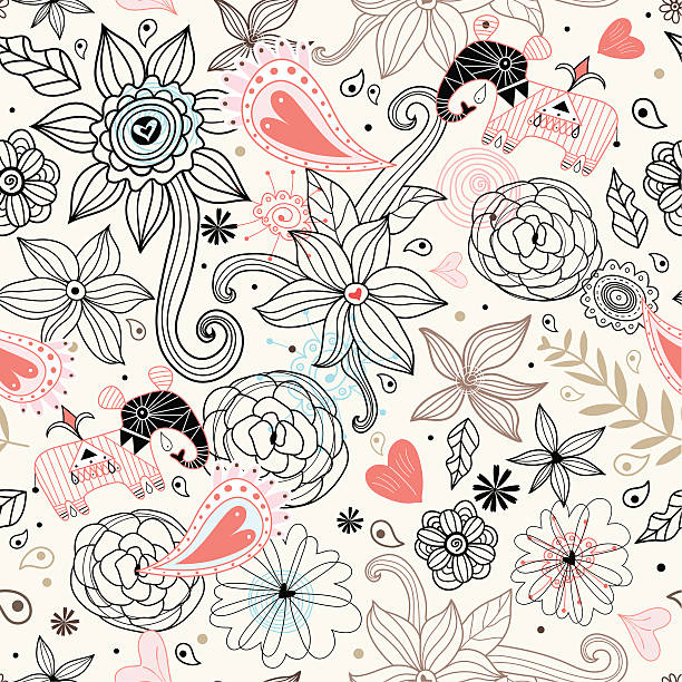 geschnitzte elephant - stammes tattoos stock-grafiken, -clipart, -cartoons und -symbole