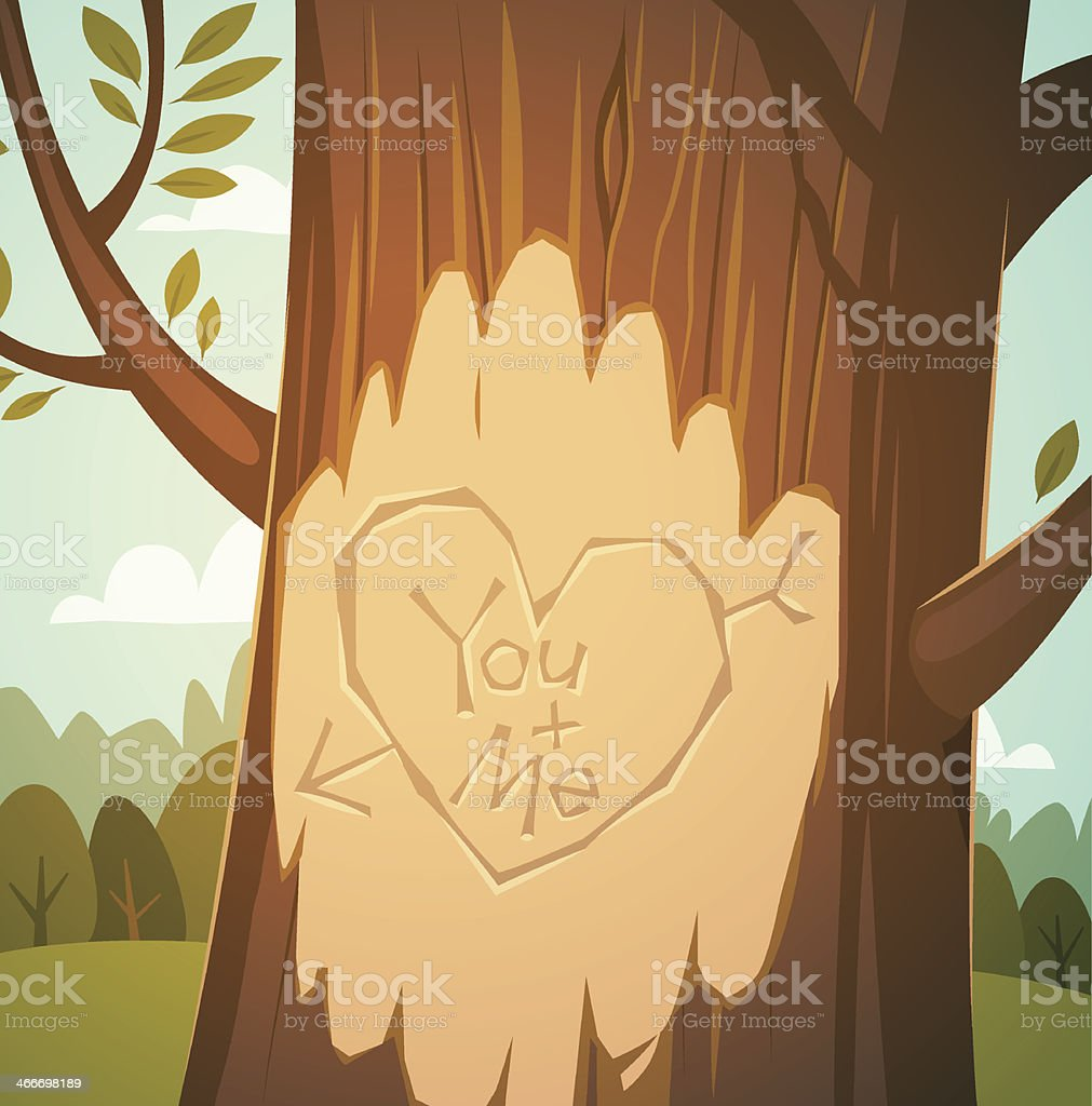Carved heart in a tree vector art illustration