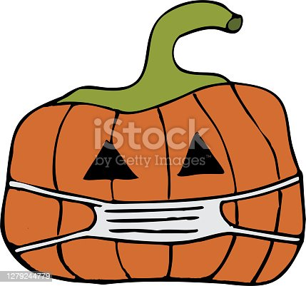 Hand drawn cartoon depiction of a carved pumpkin wearing face mask. It is a COVID-19 pandemic themed versatile vector for halloween, autumn, thanksgiving concepts.