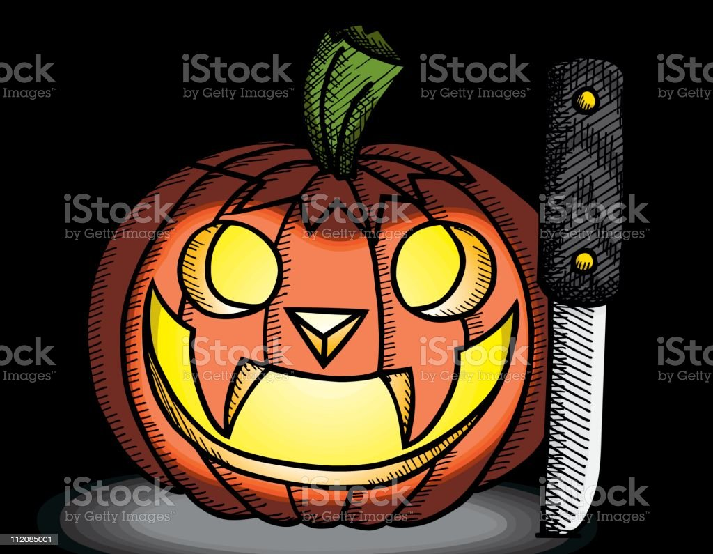 Carved Pumpkin with Carving Knife royalty-free stock vector art