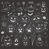 Pumpkins and autumn doodles hand drawn on a chalkboard. Vector illustration with carved pumpkins and Halloween doodles.